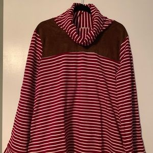 Red Striped Oversized Top